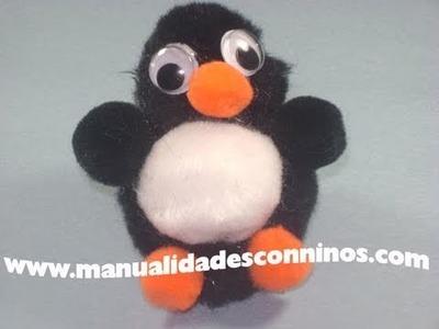 Manualidades con pompones: Pinguino