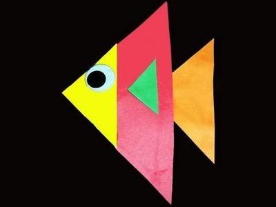 Manualidades de Kindergarten: ¿Que podemos hacer con triangulos? - Pezcado