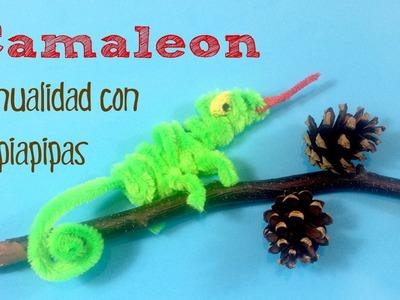 Manualidades infantiles: Camaleón con limpiapipas