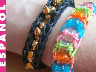 Pulsera Rainbow Loom de gomas elásticas-elastic bands bracelet