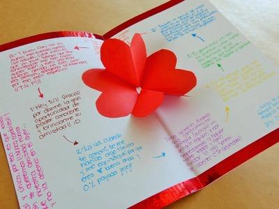 Tarjeta de corazones 3D {Pop Up}. Tarjetas para San Valentin