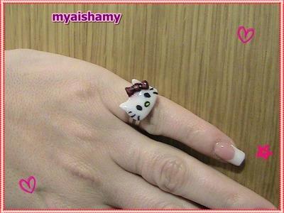 Tutorial: Cómo hacer anillo Hello Kitty con acrílico PASO A PASO - Hello Kitty acrylic ring