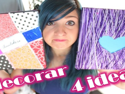 ¡DECORA tu carpeta o cuaderno a tu ESTILO! ✩ 4 ideas fáciles. Decorate folder & Notebooks