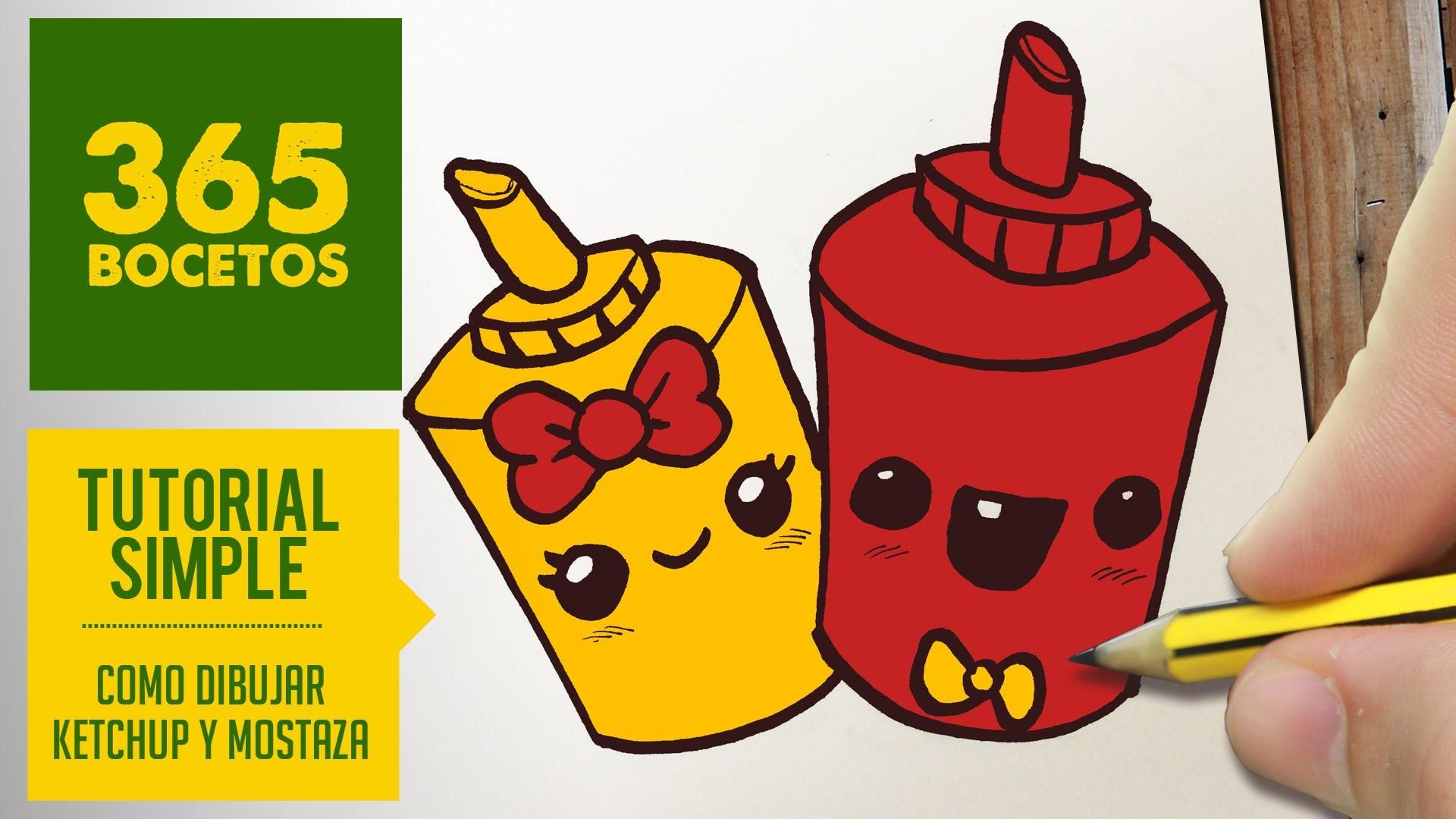 COMO DIBUJAR KETCHUP Y MOSTAZA KAWAII PASO A PASO - Dibujos kawaii faciles - How to draw a ketchup