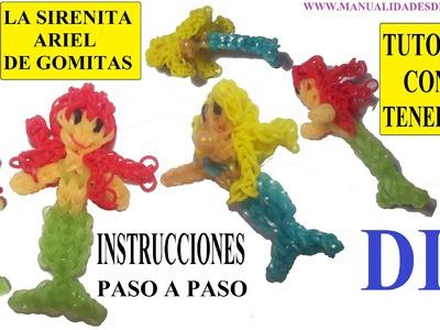 COMO HACER A LA SIRENITA ARIEL DE GOMITAS (LIGAS) CHARMS CON DOS TENEDORES. TUTORIAL DIY
