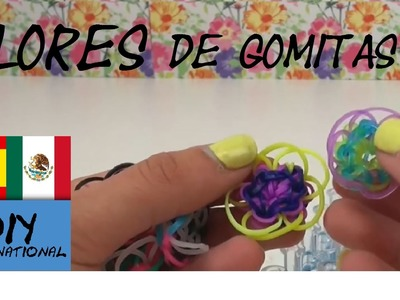 CÓMO HACER FLORES DE GOMITAS - FLOWERS - CON TELAR - TUTORIAL EN ESPAÑOL - DIY