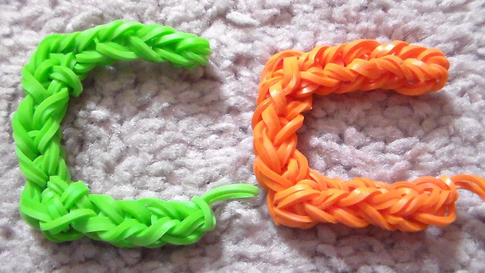 Como Hacer La Letra C con Gomitas sin telar.  Rainbow Loom