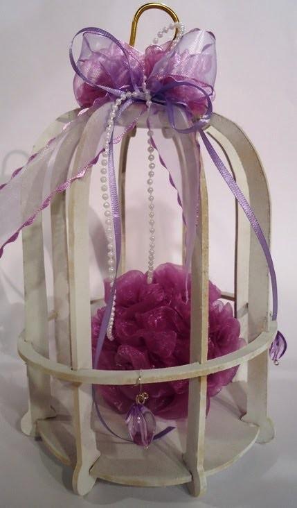 Como hacer rosas en gasa - esferas de telgopor - para decorar una jaula vintage - Mariel Lasala