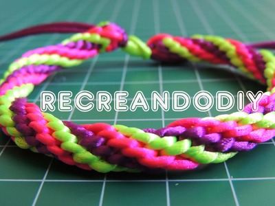 Como hacer una pulsera Kumihimo de 3 colores. Kumihimo bracelet.