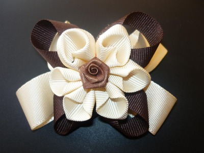 DIY flores o moños en cintas  paso a paso  hair accessories No.060  Manualidades la Hormiga