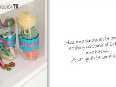 Manualidades. Envases multiuso hechos con botellas