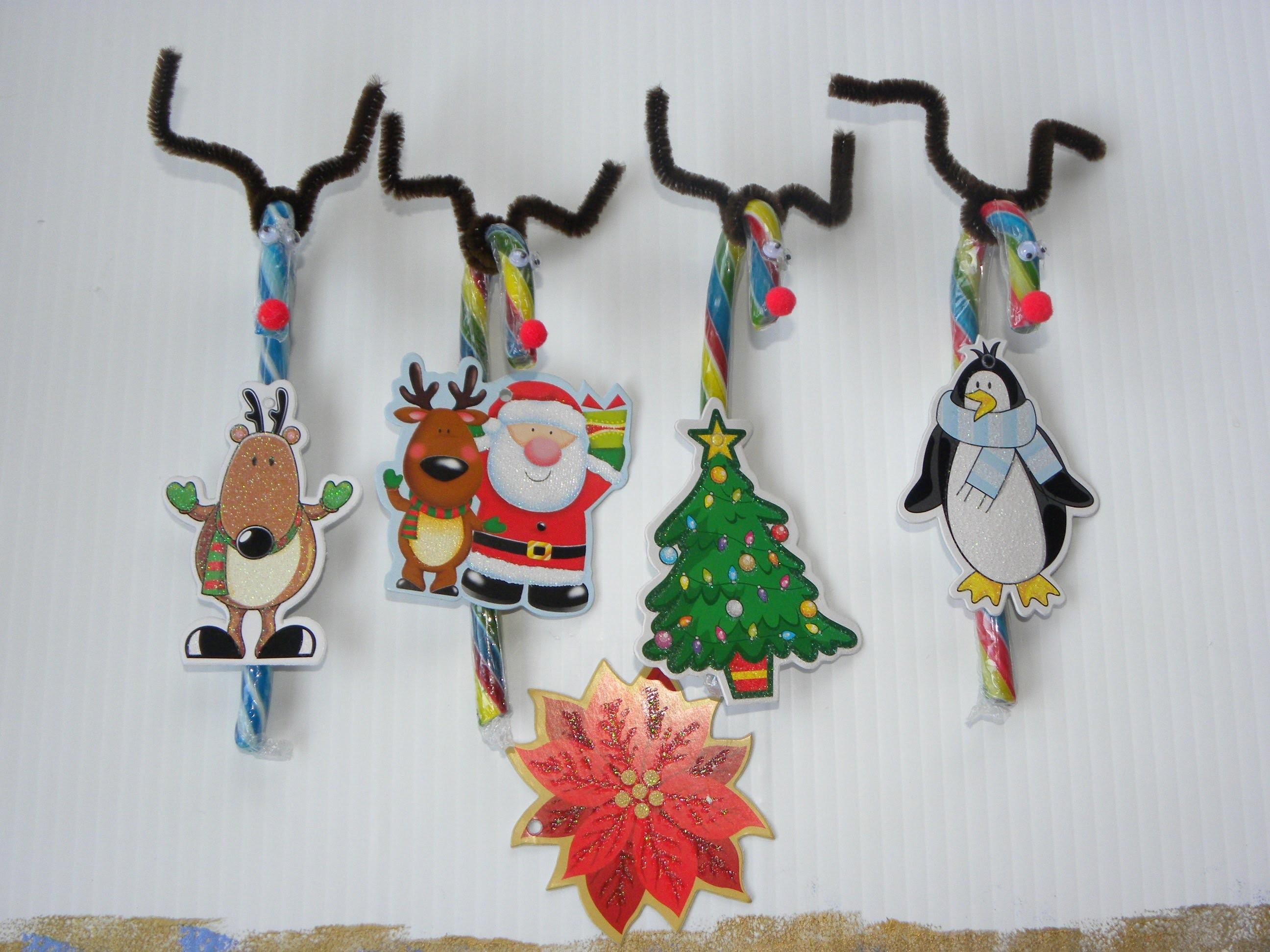 Renos Navideños de caramelo  .- Candy Cane Reindeers