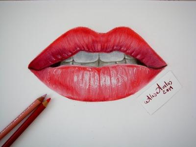 Tutorial: Cómo dibujar labios, boca con lápices de colores. Labios realistas