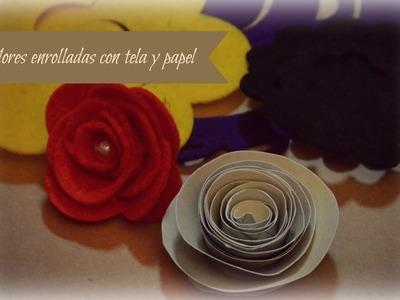 Tutorial flores enrolladas en espiral con forma en tela y papel