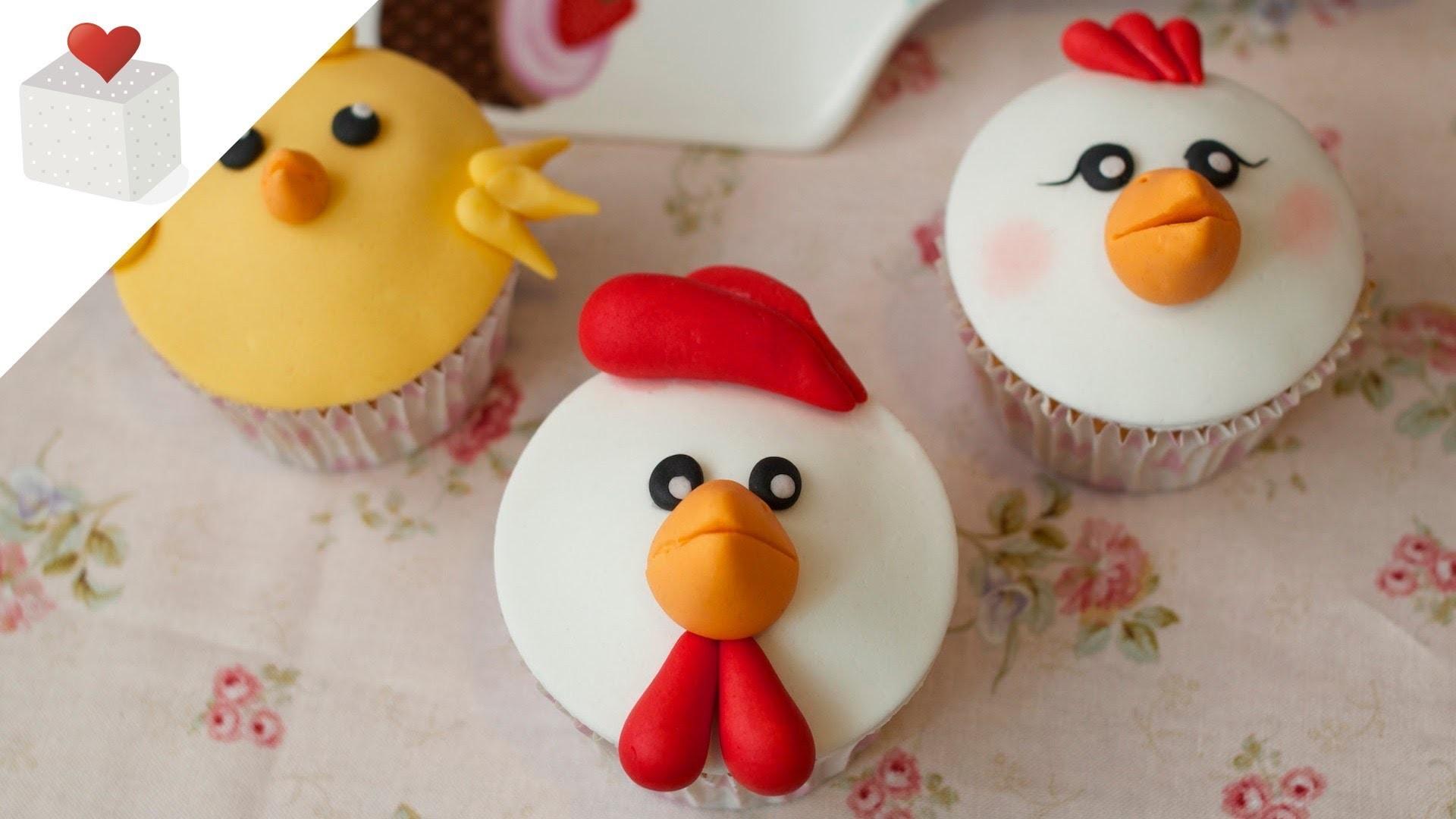 Cómo hacer Cupcakes Animales de la Granja (gallo, gallina y pollito) | Cupcakes por Azúcar con Amor