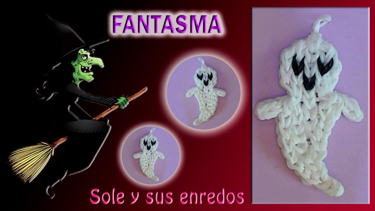 Cómo hacer un Fantasma (decoración Halloween) con gomitas elásticas para decoración Halloween