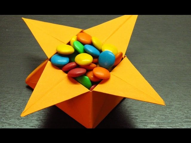 Como hacer una cajita de papel en forma de estrella para dulces paso a paso (Muy fácil)