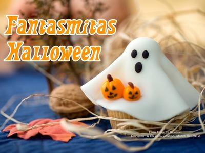 Cupcakes Fantasmitas de Fondant para Halloween