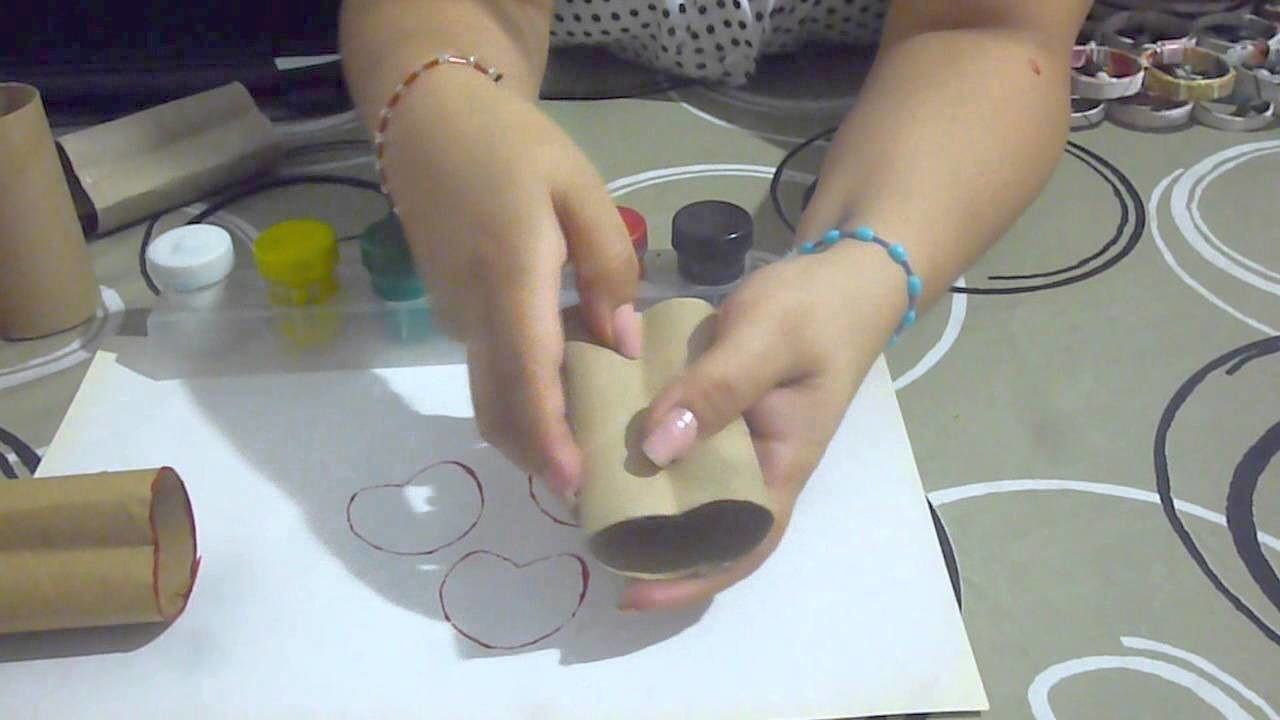 DIY ¡Sellos de corazón con tubos de papel higienico! | Reciclando