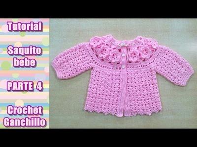 DIY Como tejer saquito, sueter, chaqueta, chambrita para bebe en crochet, ganchillo (4.4)