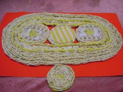 Mantel con hojas secas de maíz. -individual table tablecloth
