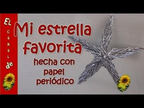 ESTRELLA NAVIDEÑA HECHA CON PAPEL PERIODICO - STAR CHRISTMAS MADE WITH NEWSPAPER