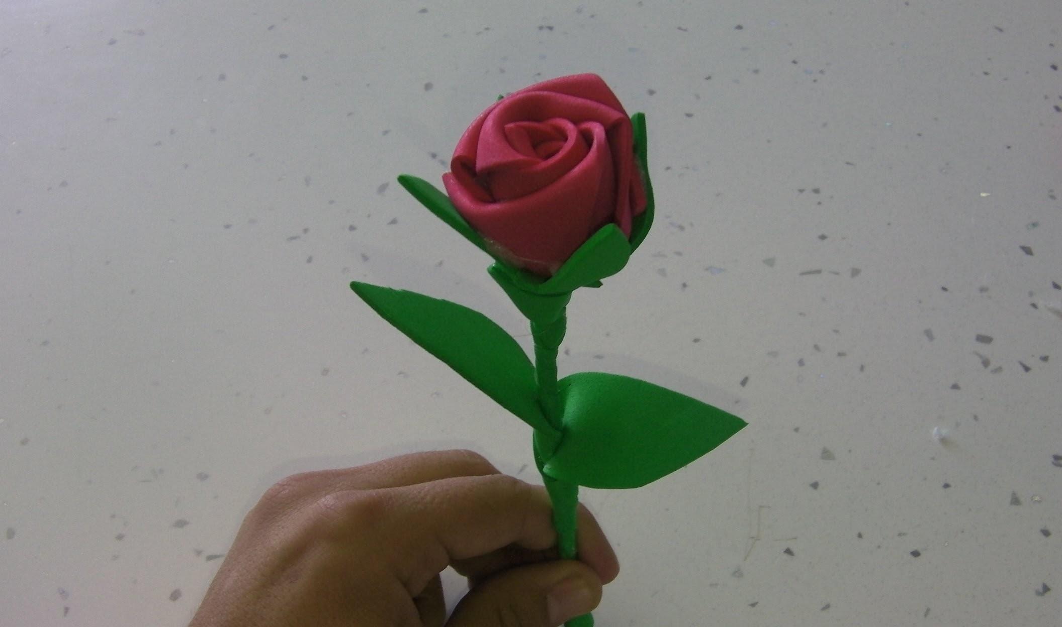 Manualidades: rosa de goma eva paso a paso  (rose foamy)
