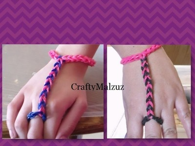 Pulsera De Gomitas  Anillo con Pulsera sin telar. How to make the finger bracelet with rubber bands