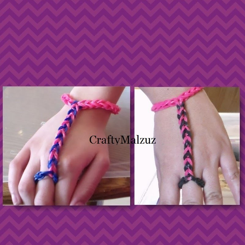 Pulsera De Gomitas  Anillo con Pulsera sin telar. How to make the finger bracelet with rubber bands