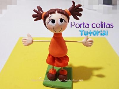 REGALOS DIY Porta colitas Muñequita porcelana fria. cold porcelain porcelanicron