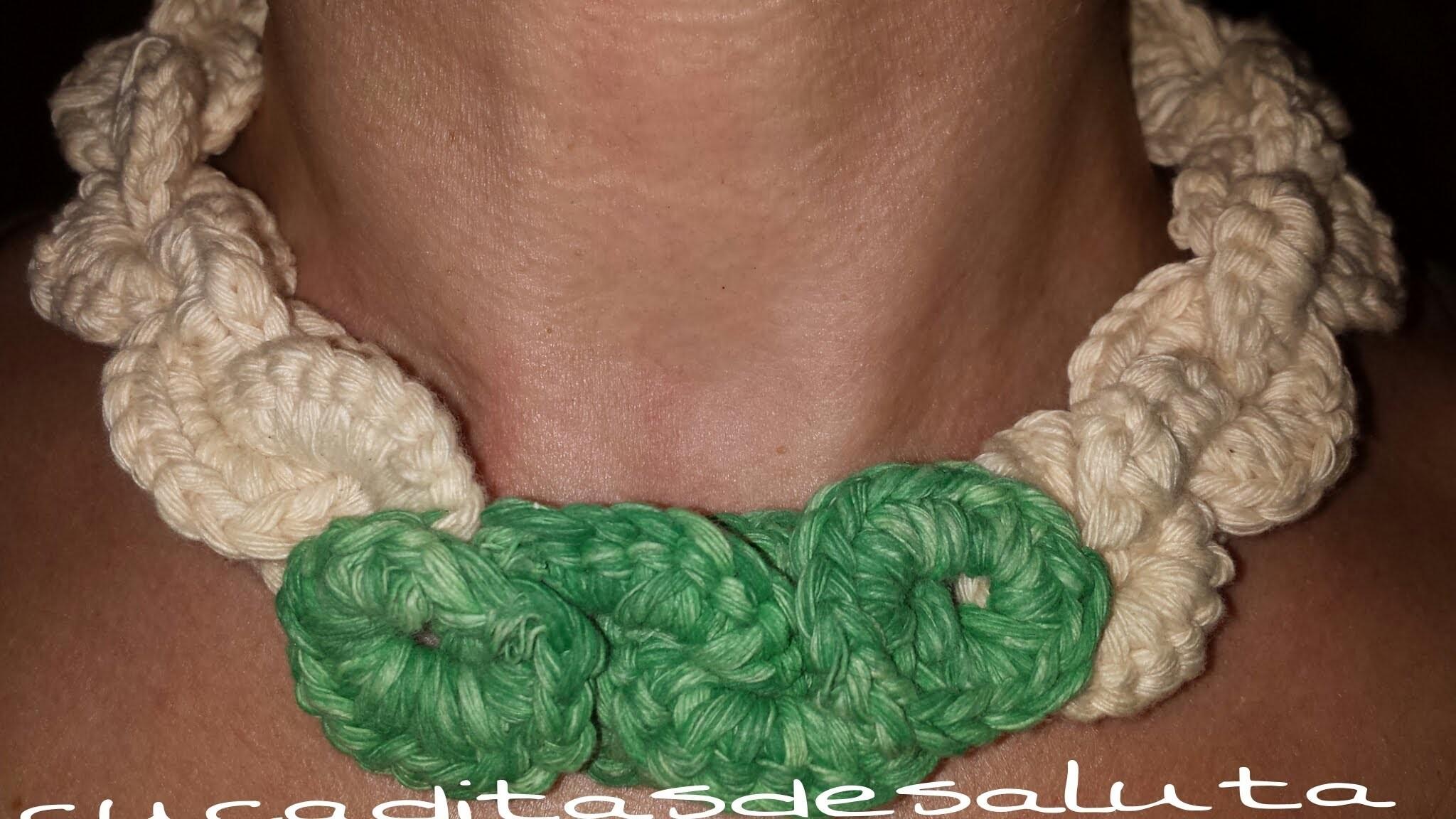 Collar de ganchillo tejido. DIY Crochet chain necklace.