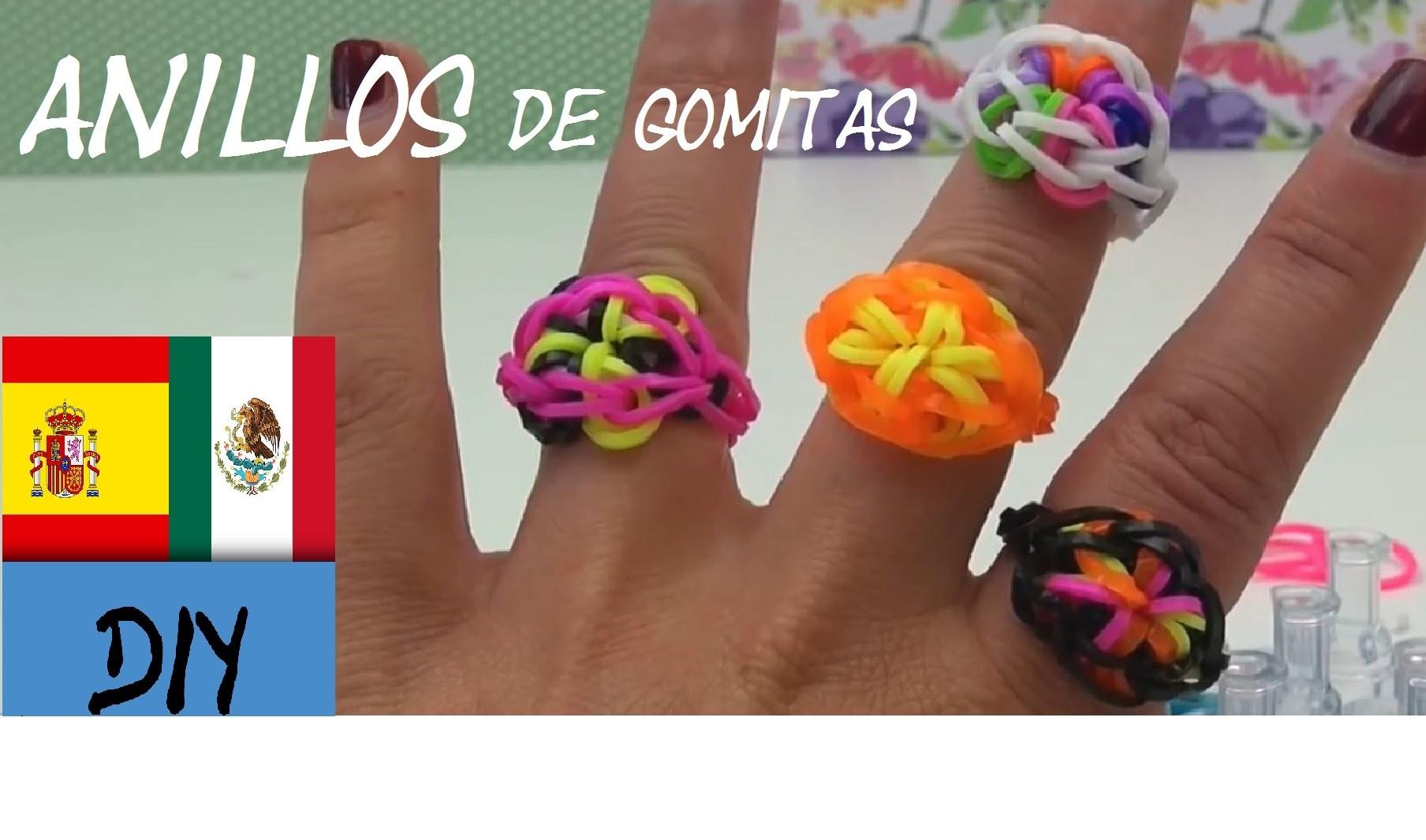 CÓMO HACER ANILLOS CON FLORES DE GOMITAS - RAINBOW LOOM RING - TUTORIAL EN ESPAÑOL - DIY