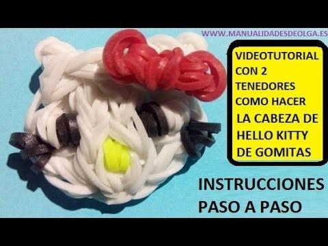 COMO HACER UNA CABEZA DE HELLO KITTY DE GOMITAS CON DOS TENEDORES. VIDEO TUTORIAL DIY