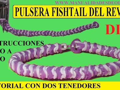 COMO HACER UNA PULSERA FISHTAIL DEL REVES DE GOMITAS CON DOS TENEDORES. NUEVO TUTORIAL DIY SIN TELAR