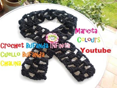 "Crochet Tutorial Bufanda Infinita ""Amelie""  - Chalina, chal, bufanda cuello"