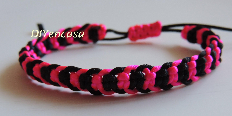 DIY Tutorial pulsera con forma de espiga en negro y rosa fluor. Bracelet friendship.