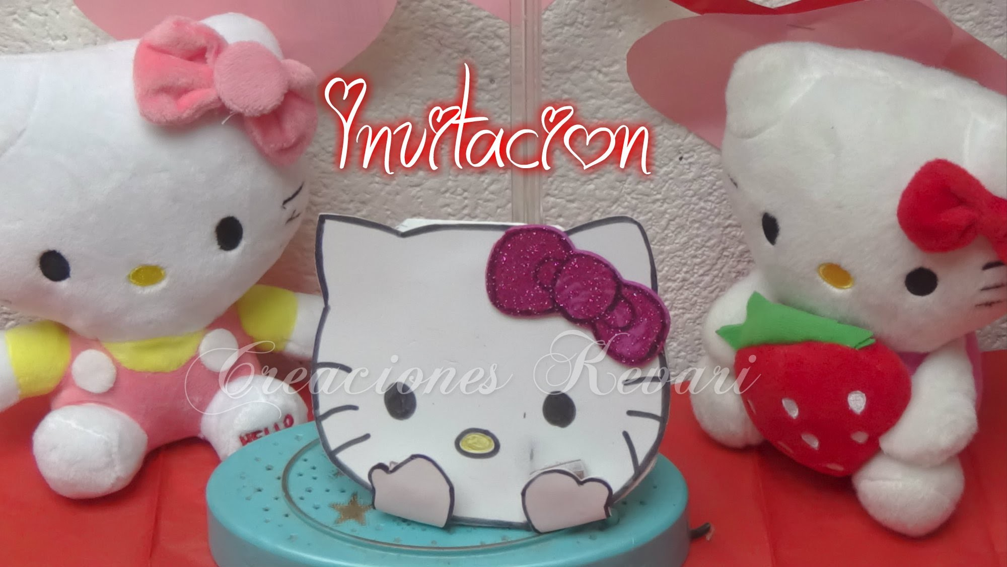Invitación de Hello Kitty, Fácil y económica.DIY Tutorial   Birthday Invitations
