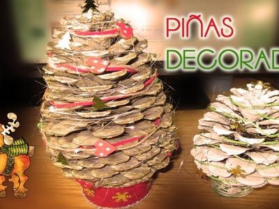 Manualidad Navidad || Piñas decoradas