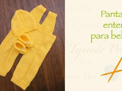 Pantalón enterizo para bebés tejido en dos agujas o palitos