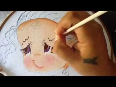 Pintura en tela niña durazno # 1 con cony