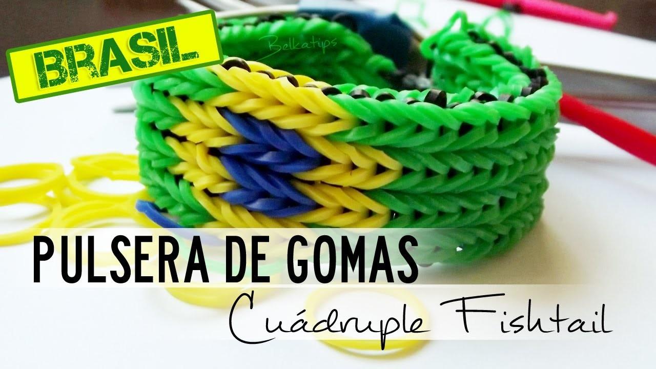 Pulsera de gomas Cuádruple Fishtail Brasil con 2 TENEDORES