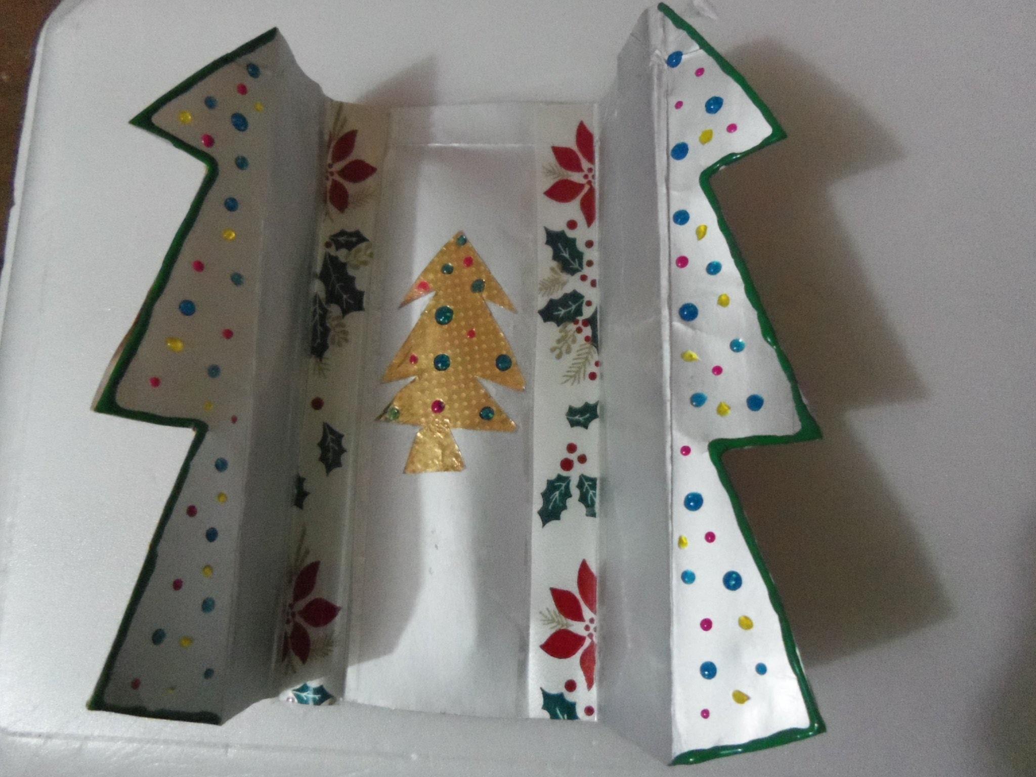 Tarjeta Navideña reciclada de tetrapack