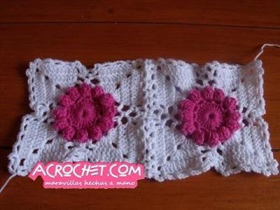 Trabajamos una flor margarita en crochet - unión Paso 3