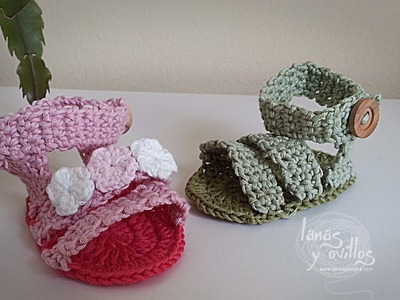 Tutorial Sandalias Bebé Crochet o Ganchillo Shoes (English subtitles)