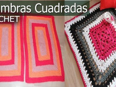 Alfombras Cuadrada y Rectangular - Tejidas a Crochet y Dos agujas ( Diseños e Ideas )