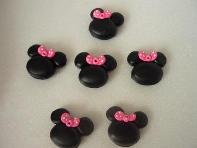 Apliques de minnie mouse en porcelanicron   o masa flexible para centro de moños flores
