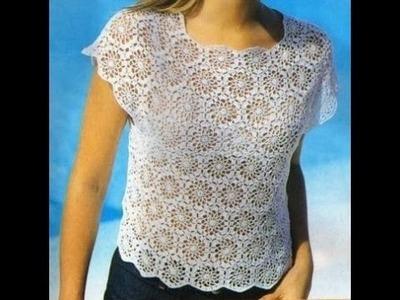 Blusa Blanca Pastillas Unidas a Crochet