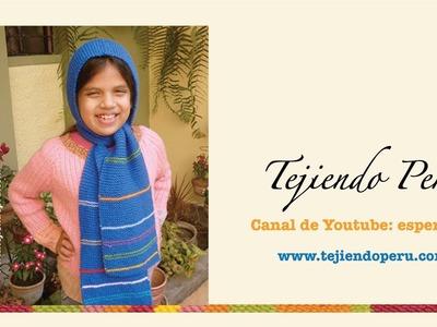 Bufanda con capucha para niños tejida con dos agujas o palitos