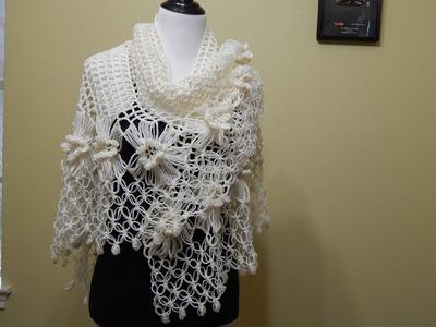 Chal con Flores Crochet parte 2 de 2