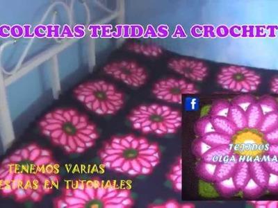 Colchas para camas tejidos a crochet de flores